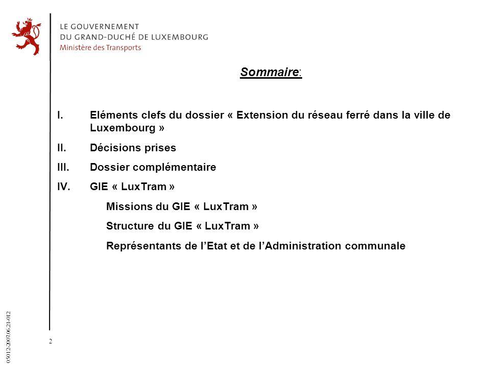 31 March 2017 Sommaire: I. Eléments clefs du dossier « Extension du réseau ferré dans la ville de Luxembourg »