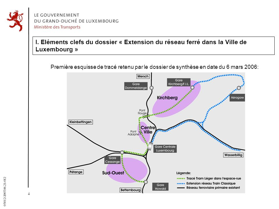 31 March 2017 I. Eléments clefs du dossier « Extension du réseau ferré dans la Ville de Luxembourg »