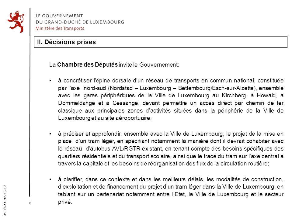 II. Décisions prises La Chambre des Députés invite le Gouvernement: