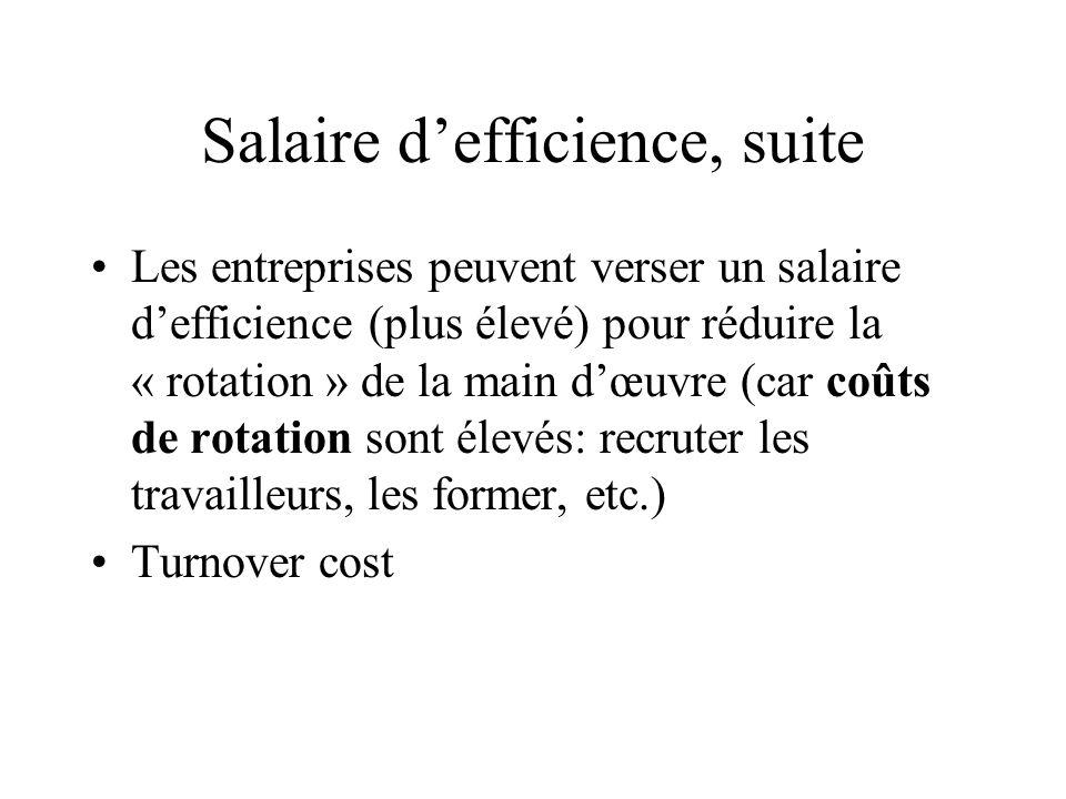 Salaire d'efficience, suite