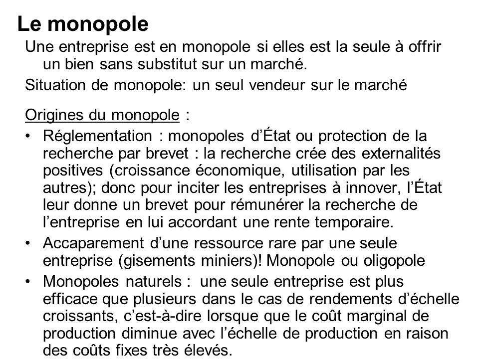 Le monopole Une entreprise est en monopole si elles est la seule à offrir un bien sans substitut sur un marché.