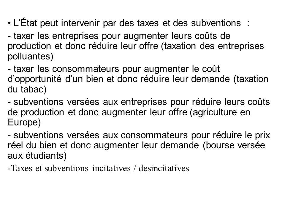L'État peut intervenir par des taxes et des subventions :