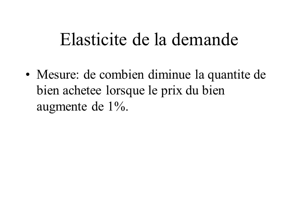 Elasticite de la demande