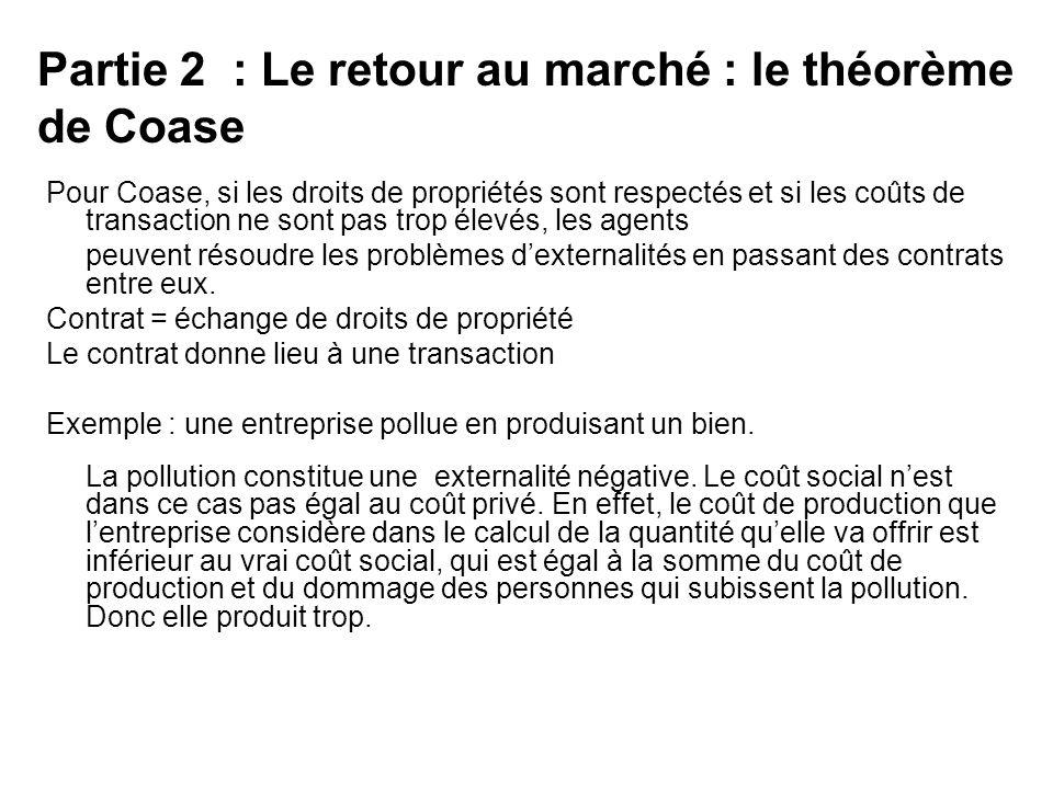 Partie 2 : Le retour au marché : le théorème de Coase