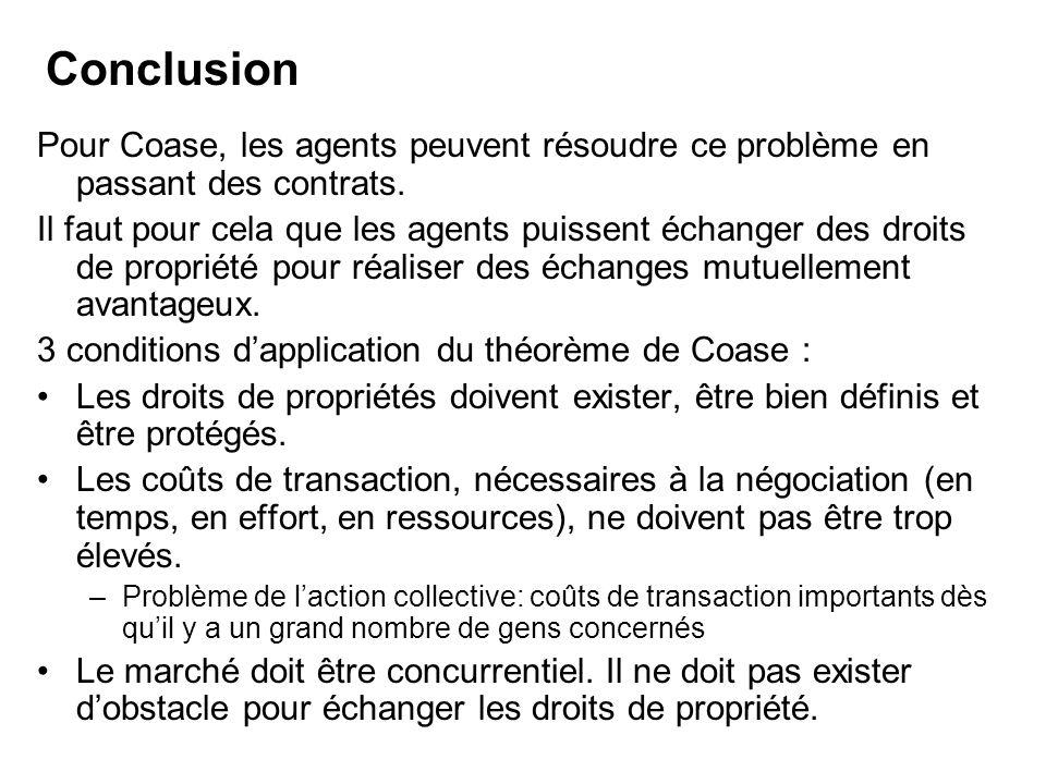 Conclusion Pour Coase, les agents peuvent résoudre ce problème en passant des contrats.