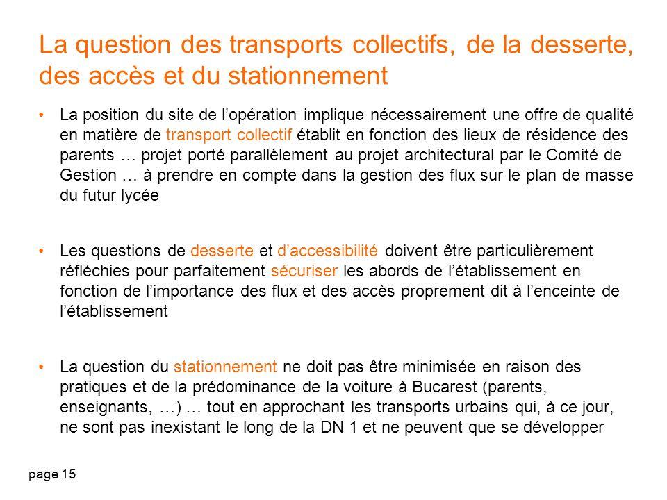 La question des transports collectifs, de la desserte, des accès et du stationnement