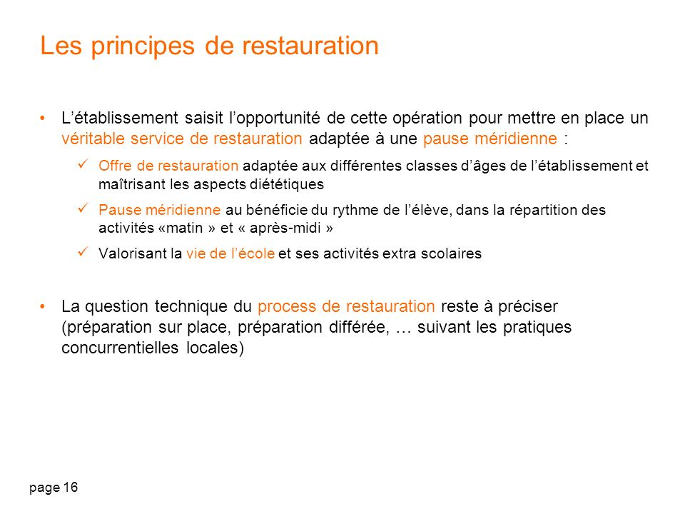 Les principes de restauration