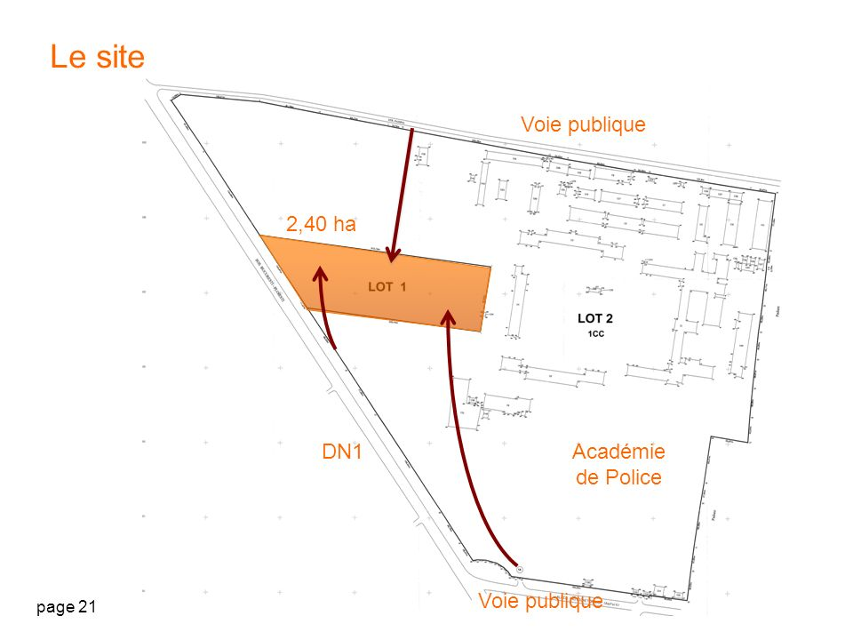 Le site Voie publique 2,40 ha DN1 Académie de Police Voie publique
