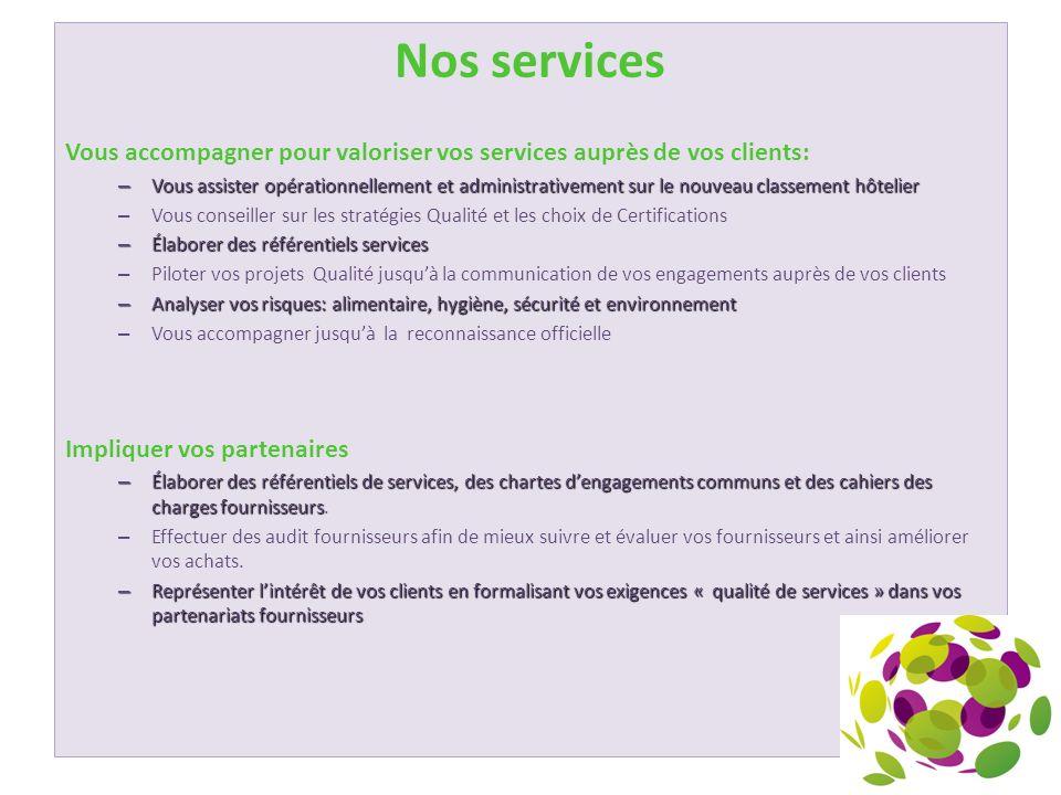 Nos services Vous accompagner pour valoriser vos services auprès de vos clients: