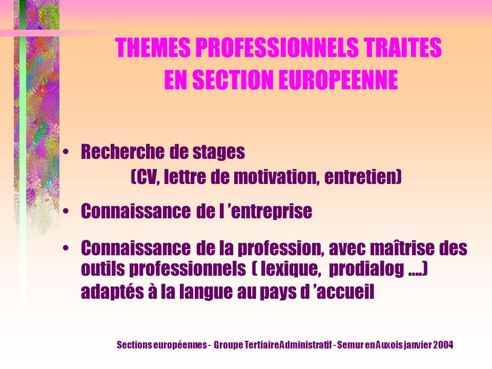 THEMES PROFESSIONNELS TRAITES EN SECTION EUROPEENNE