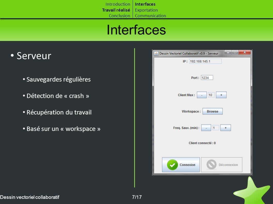 Interfaces Serveur Sauvegardes régulières Détection de « crash »
