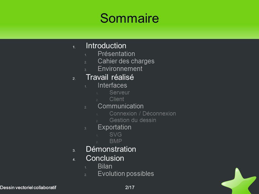 Sommaire Introduction Travail réalisé Démonstration Conclusion