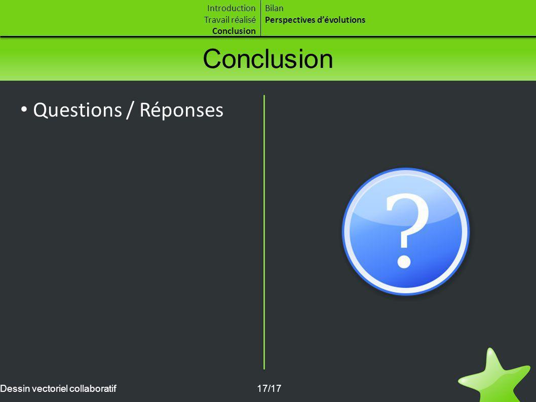 Conclusion Questions / Réponses Introduction Travail réalisé
