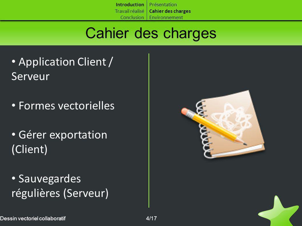 Cahier des charges Application Client / Serveur Formes vectorielles