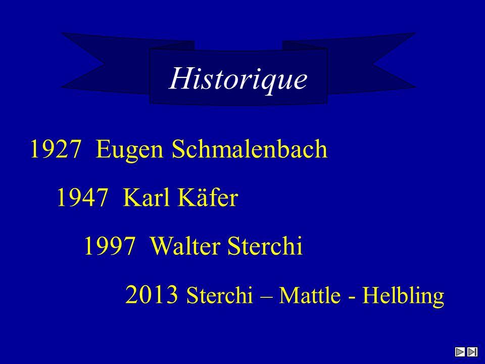 Historique 1927 Eugen Schmalenbach 1947 Karl Käfer 1997 Walter Sterchi