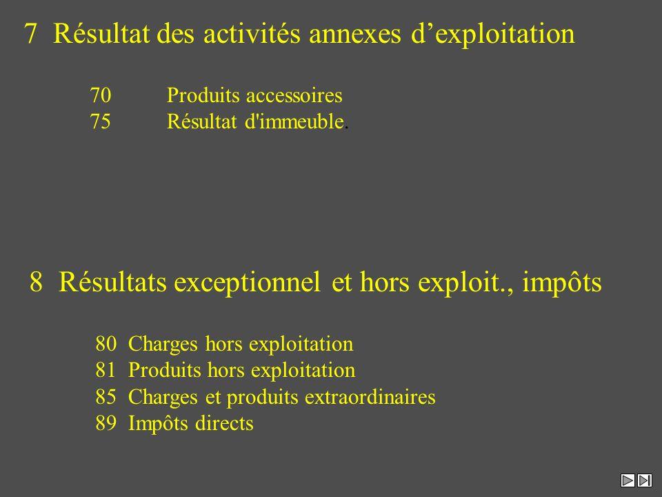7 Résultat des activités annexes d'exploitation