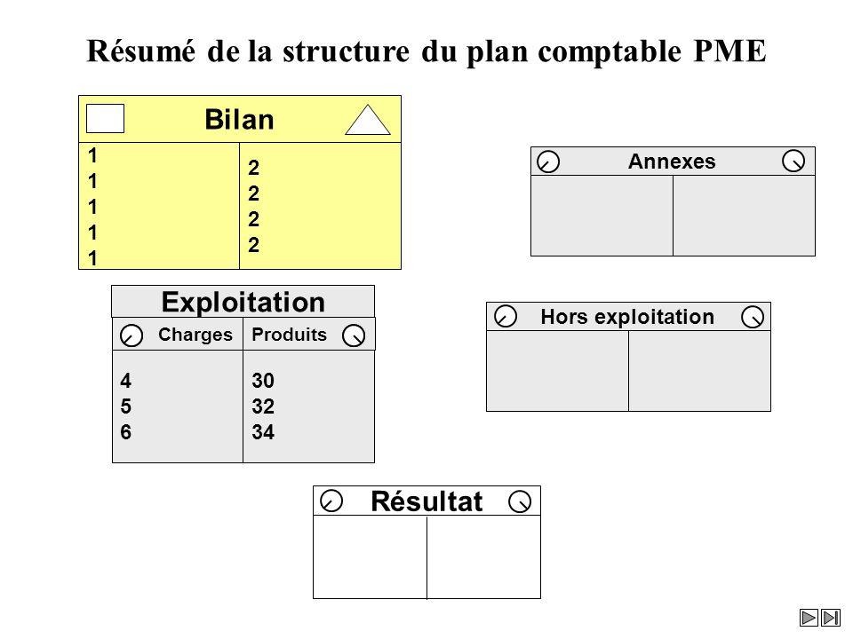 Résumé de la structure du plan comptable PME