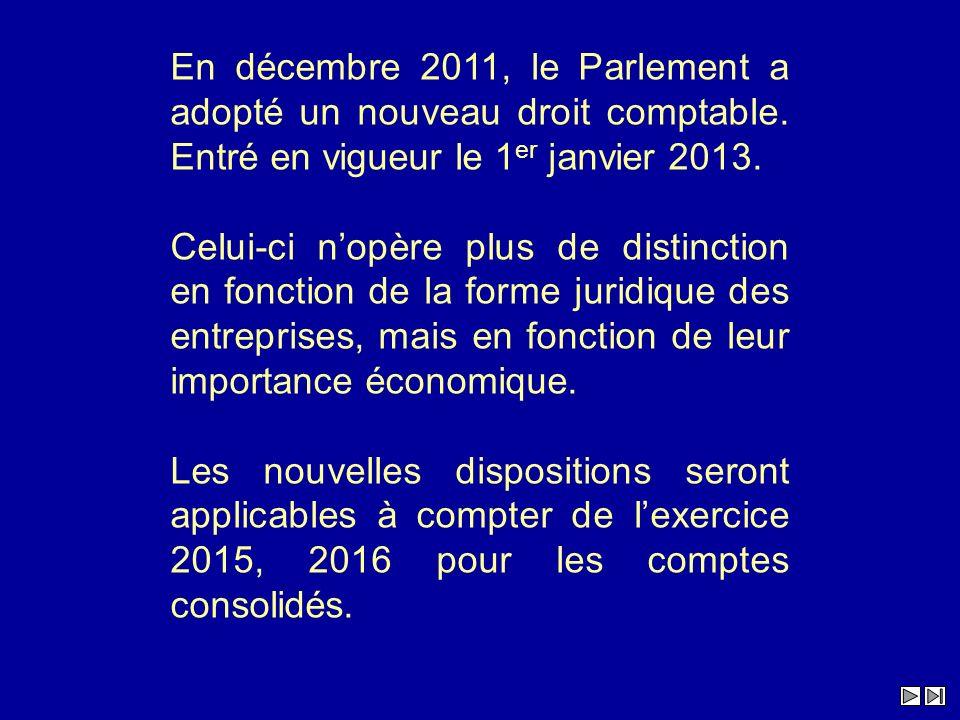 En décembre 2011, le Parlement a adopté un nouveau droit comptable
