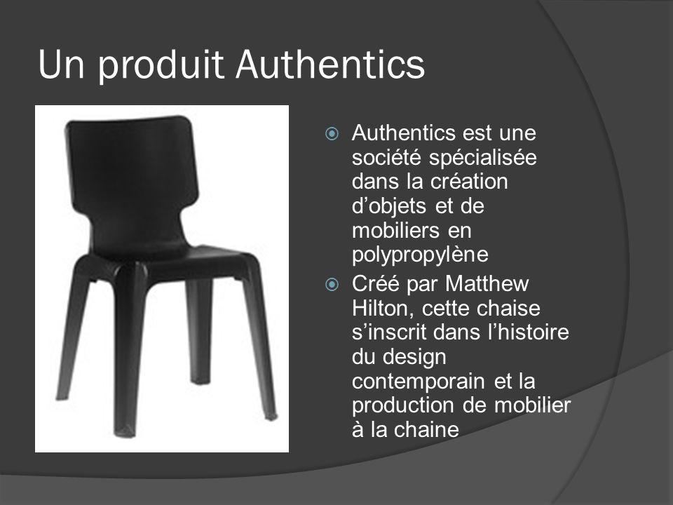Un produit Authentics Authentics est une société spécialisée dans la création d'objets et de mobiliers en polypropylène.