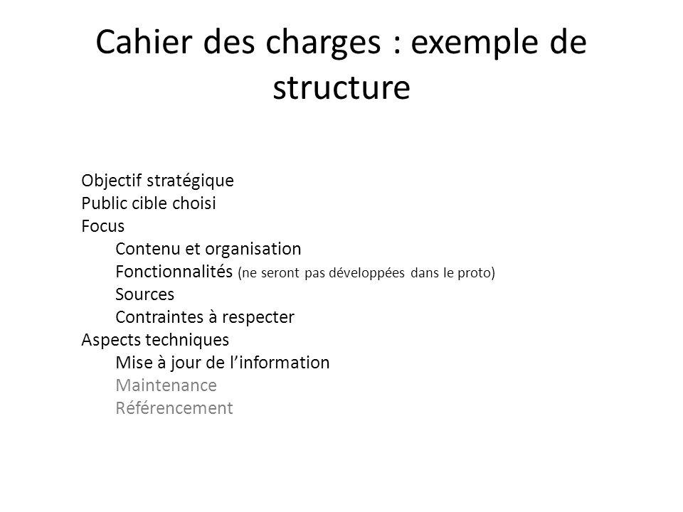 Cahier des charges : exemple de structure