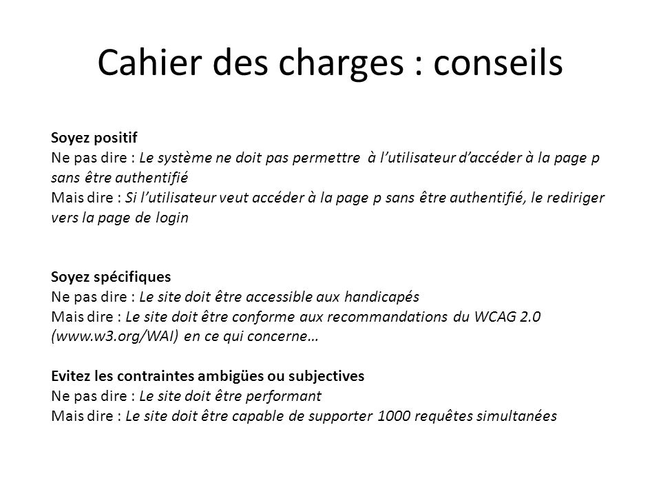 Cahier des charges : conseils