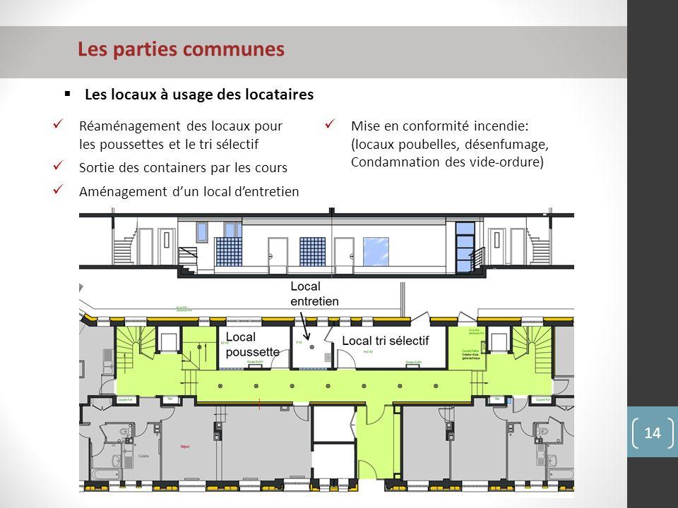 Les parties communes Les locaux à usage des locataires