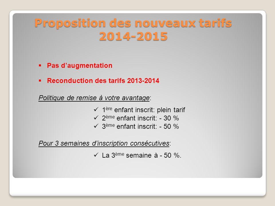 Proposition des nouveaux tarifs 2014-2015
