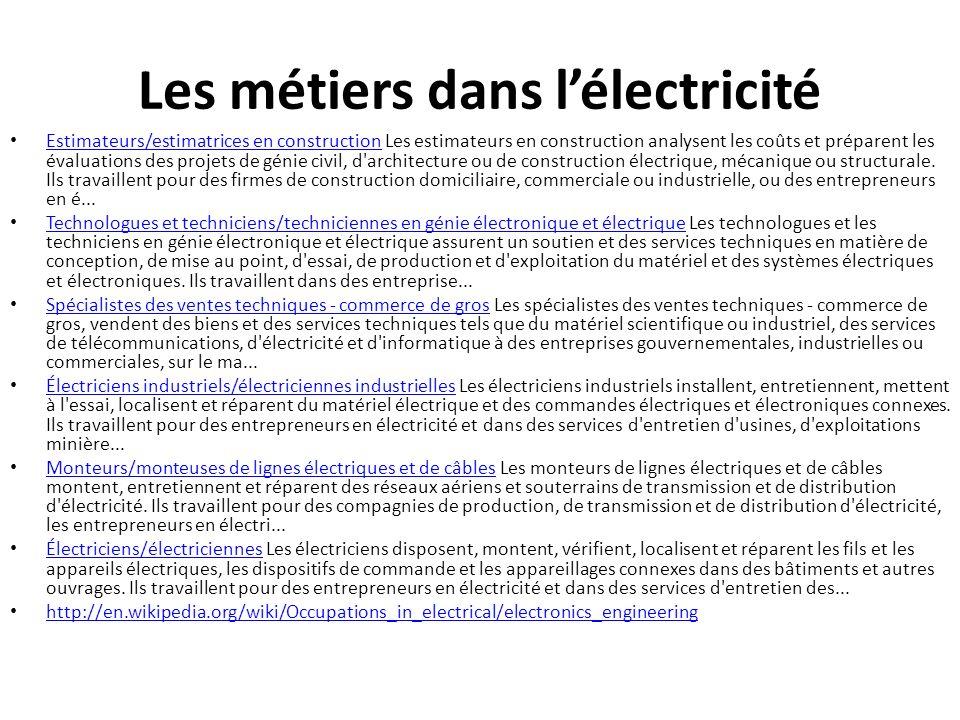 Les métiers dans l'électricité