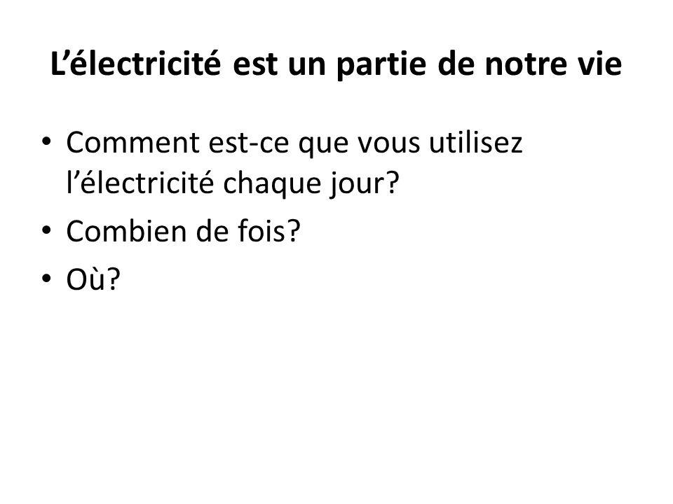 L'électricité est un partie de notre vie