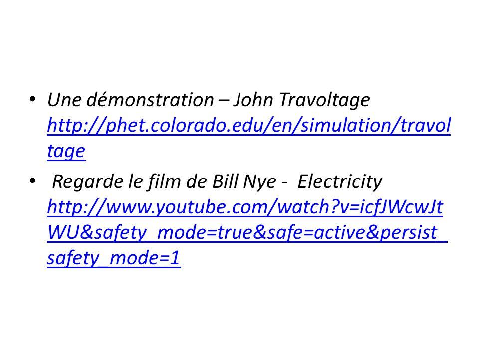 Une démonstration – John Travoltage http://phet. colorado