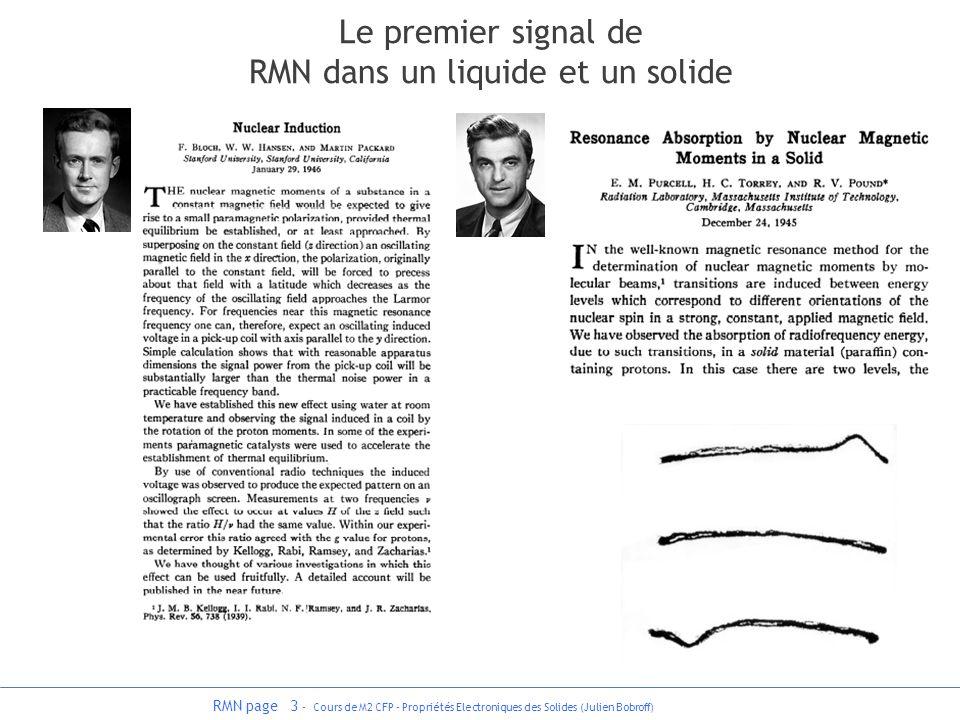Le premier signal de RMN dans un liquide et un solide