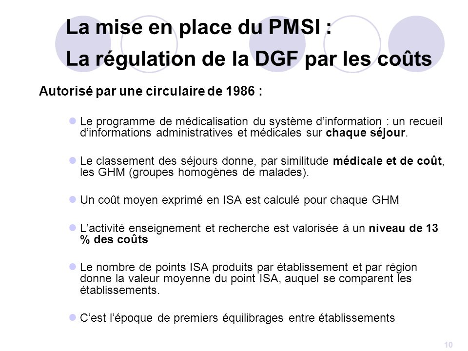 La mise en place du PMSI : La régulation de la DGF par les coûts