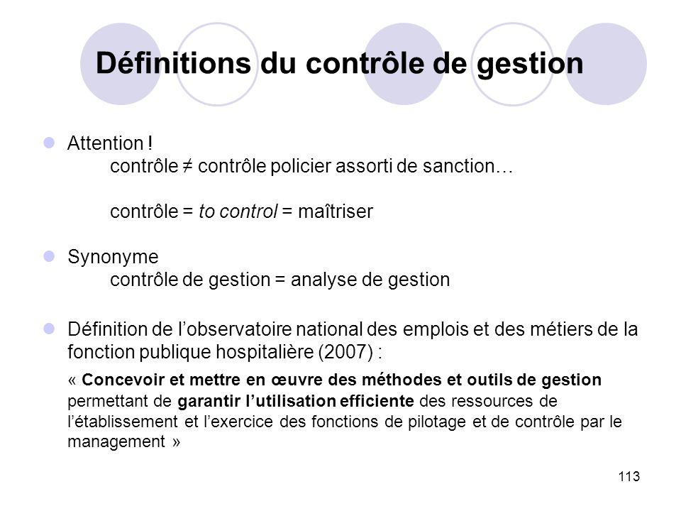 Définitions du contrôle de gestion
