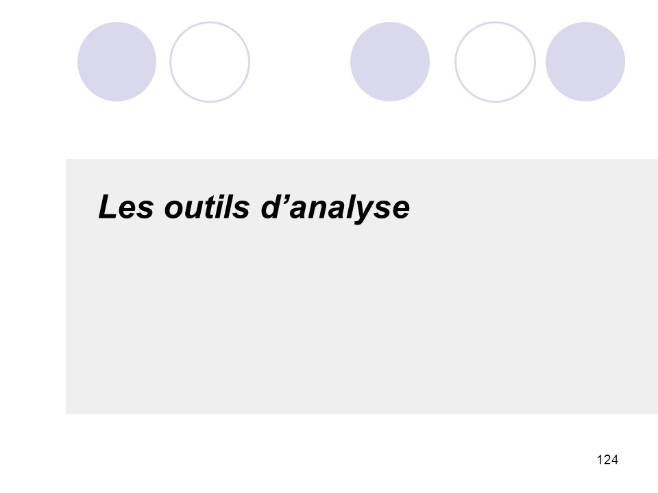 Les outils d'analyse 124