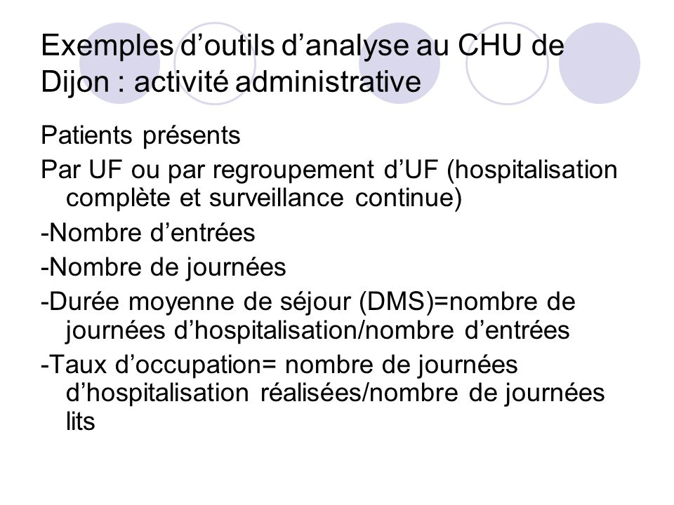 Exemples d'outils d'analyse au CHU de Dijon : activité administrative