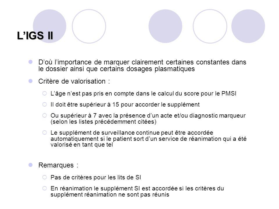 L'IGS II D'où l'importance de marquer clairement certaines constantes dans le dossier ainsi que certains dosages plasmatiques.