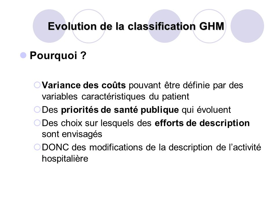Evolution de la classification GHM
