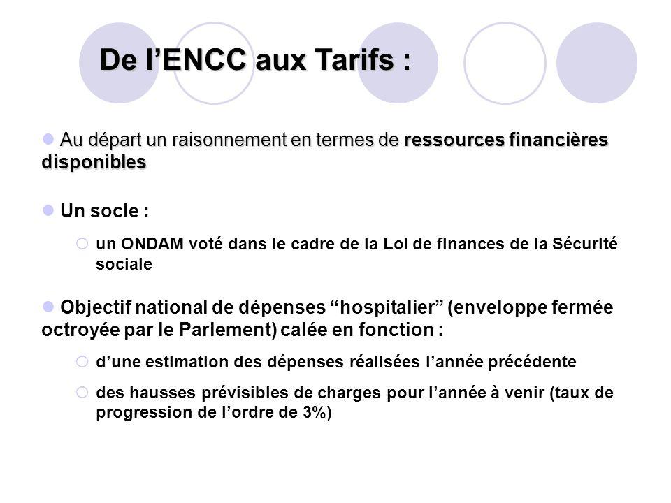 De l'ENCC aux Tarifs : Au départ un raisonnement en termes de ressources financières disponibles. Un socle :