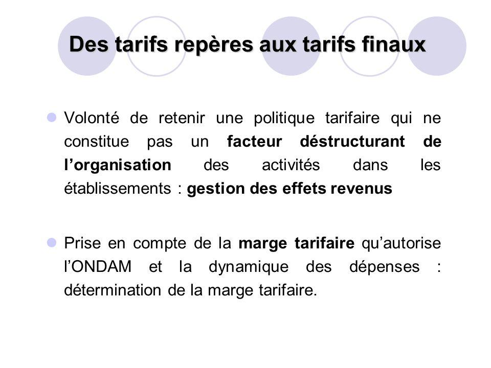Des tarifs repères aux tarifs finaux