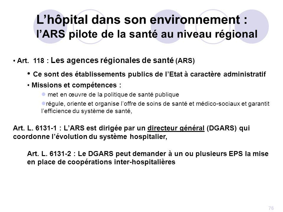 L'hôpital dans son environnement : l'ARS pilote de la santé au niveau régional