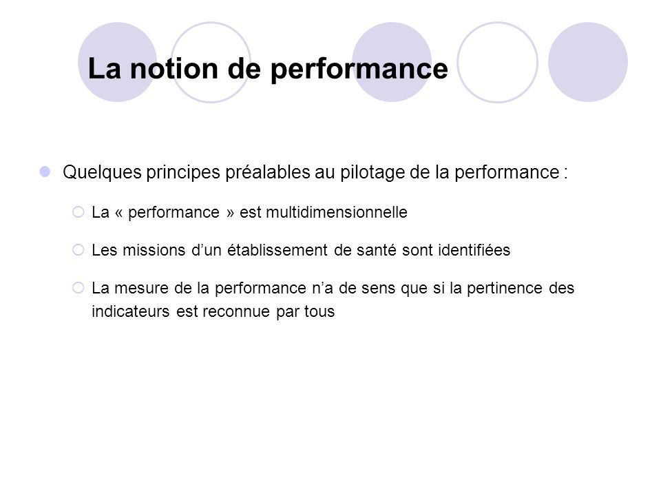 La notion de performance