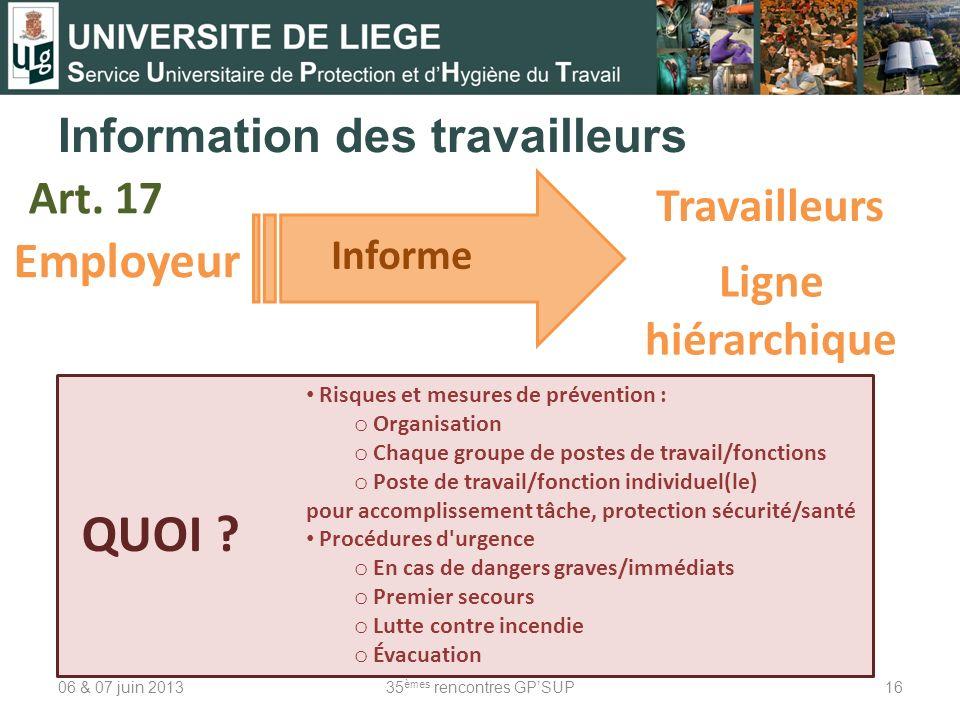 Information des travailleurs