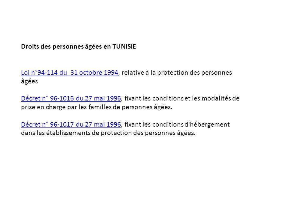 Droits des personnes âgées en TUNISIE