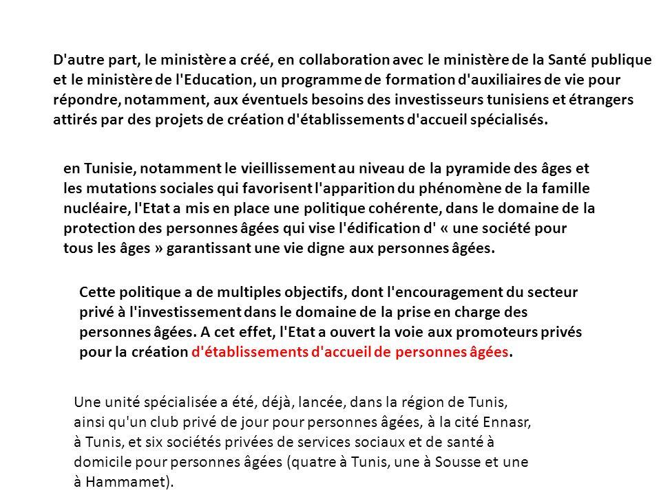 D autre part, le ministère a créé, en collaboration avec le ministère de la Santé publique et le ministère de l Education, un programme de formation d auxiliaires de vie pour répondre, notamment, aux éventuels besoins des investisseurs tunisiens et étrangers attirés par des projets de création d établissements d accueil spécialisés.
