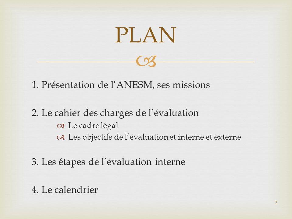 PLAN 1. Présentation de l'ANESM, ses missions