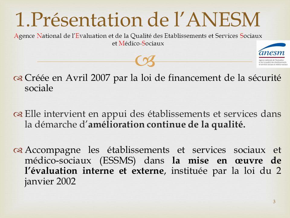 1.Présentation de l'ANESM Agence National de l'Evaluation et de la Qualité des Etablissements et Services Sociaux et Médico-Sociaux