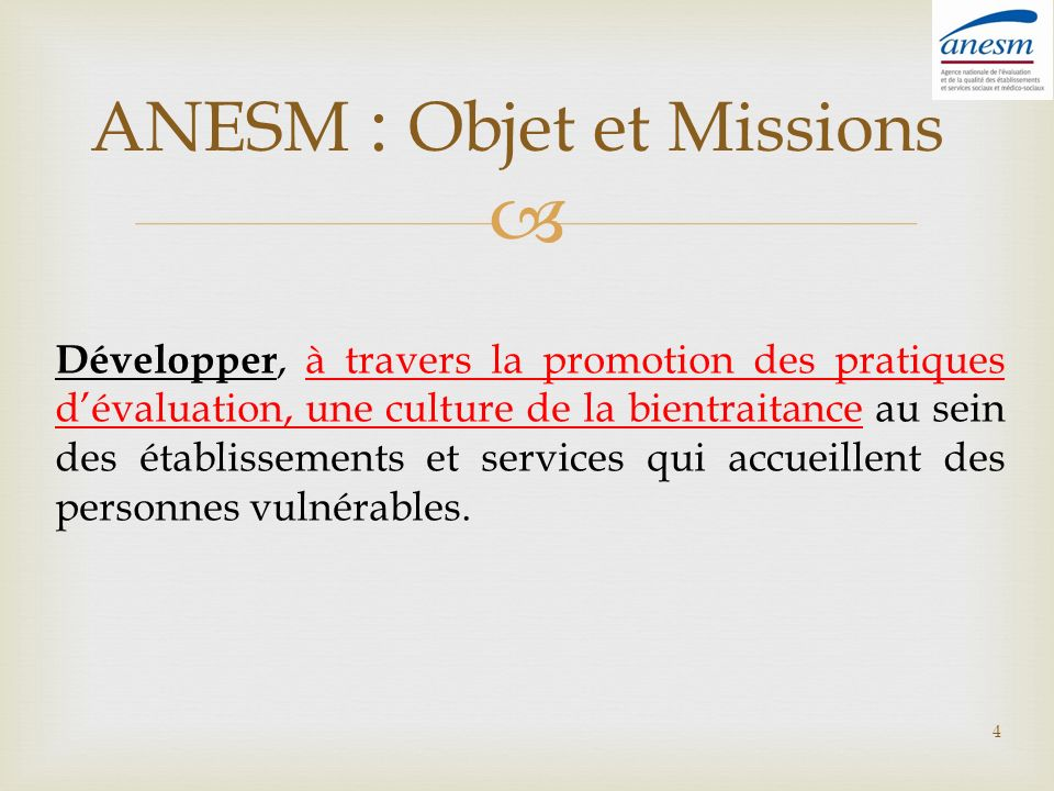 ANESM : Objet et Missions