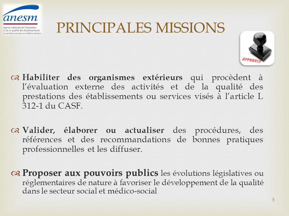 PRINCIPALES MISSIONS