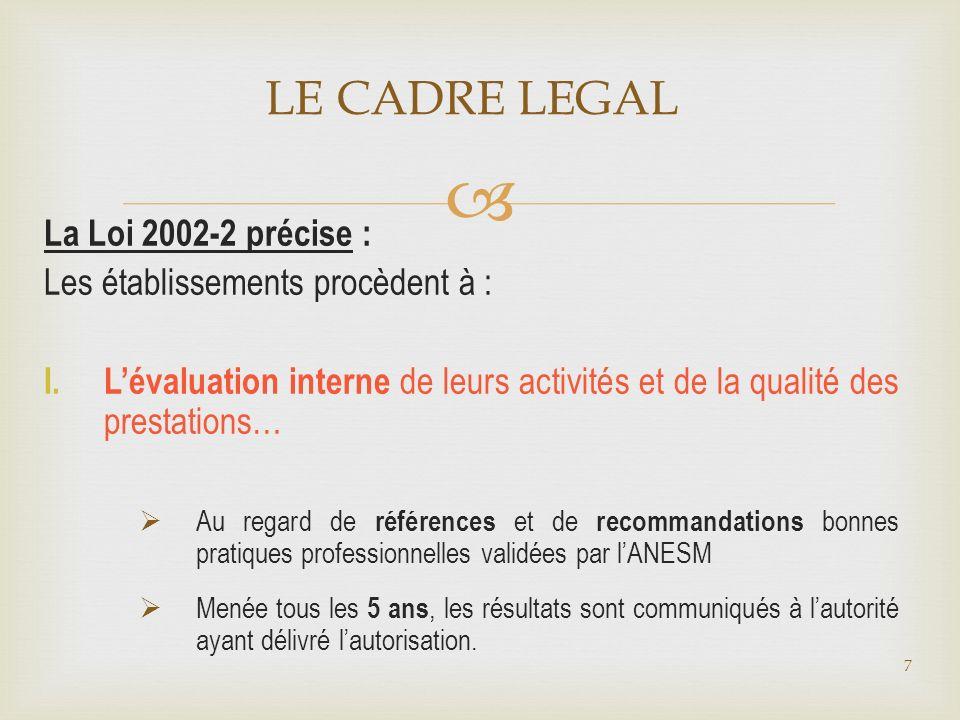 LE CADRE LEGAL La Loi 2002-2 précise :