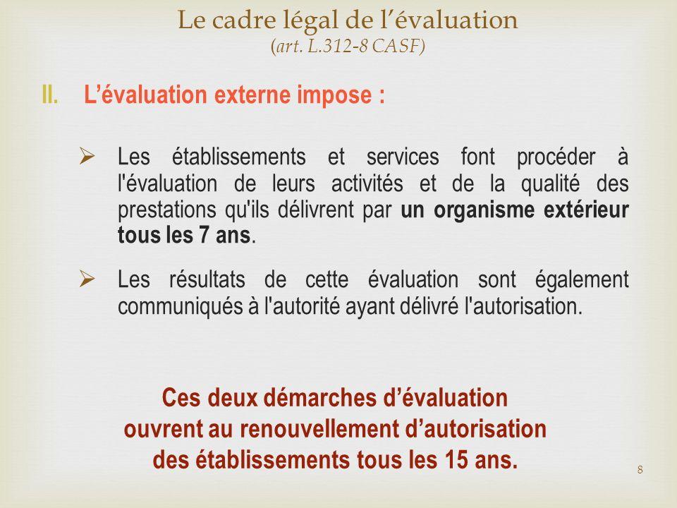 Le cadre légal de l'évaluation